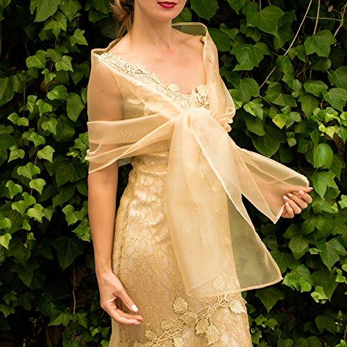 Chal organza color dorado oro novia boda