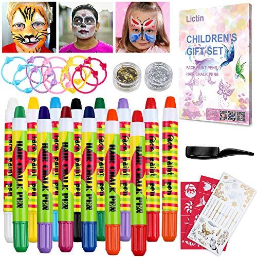 Lictin Kinderschminke Haarkreide Stifte Set Face Print Haarkreide Stifte Set mit 3 Glitzer und Kamm...