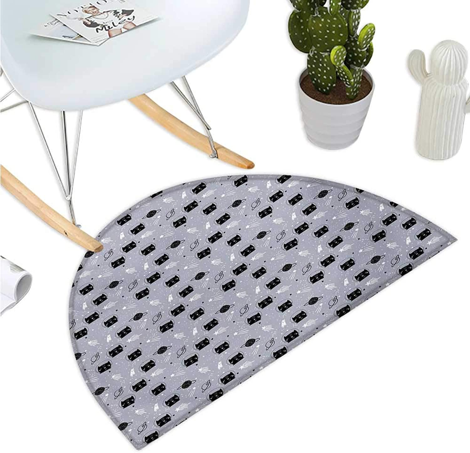 Outer Space Semicircular Cushion Astronaut Cats Exploring The Universe on Dotted Background Halfmoon doormats H 47.2  xD 70.8  Purple Grey Black and White