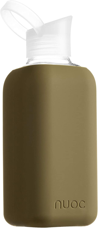 NUOC | Botella de agua cristal | 800 ml | Verde Kaki | Botella de Agua Reutilizable | Botella de Cristal | Funda de Silicona | Bebidas Frías y Calientes | sin BPA | Ecológica | Deporte, Oficina, Yoga
