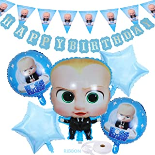 OPATER Baby Boss Balloons Birthday Party Supplies Decorations Foil Helium Balloons,Born Leader Triangle Bunting Flag,Happy Birthday Banner for Boys Girls Kids Baby Shower Decor