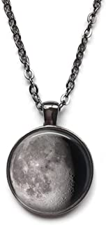Little Gem Girl Custom Birth Moon Necklace Personalized Lunar Phase Round Glass Dome 25mm, 1 inch Gunmetal Charm