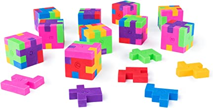 Super Z Outlet 12 Pack Colorful Puzzle Erasers Miniature Pencil Erasers Children Party Favors, Classroom Student Prize Packs, Brain Teasers