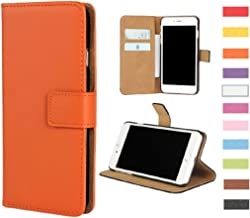 Jaorty Huawei Mate 10 Lite/Honor 9i/Nova 2i Case,Genuine Premium Leather Folio Wallet Case Flip Cover Case Book Design Kickstand Feature & Magnetic Closure & Card Slots/Cash Compartment,Orange