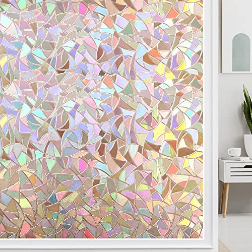 LUTE Window Film Privacy, Window Clings Glass, 3D Decorative Window Vinyl, Rainbow Window Cling, Removable Window Decals Non-Adhesive Reflective UV Blocking for Door and Kitchen 17.5 x 78.7 inches