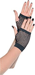Amscan Short Fishnet Gloves, Party Accessory, Black