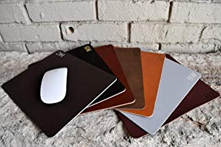 Customized Leather Mouse Pad   Personalized Monogrammed Initials   7.5 x 10 In.   Classic Look   High Quality   Brown, Black, Tan, Gray & Red   Great Gift   Genuine Leather   Made In USA   Ships Free
