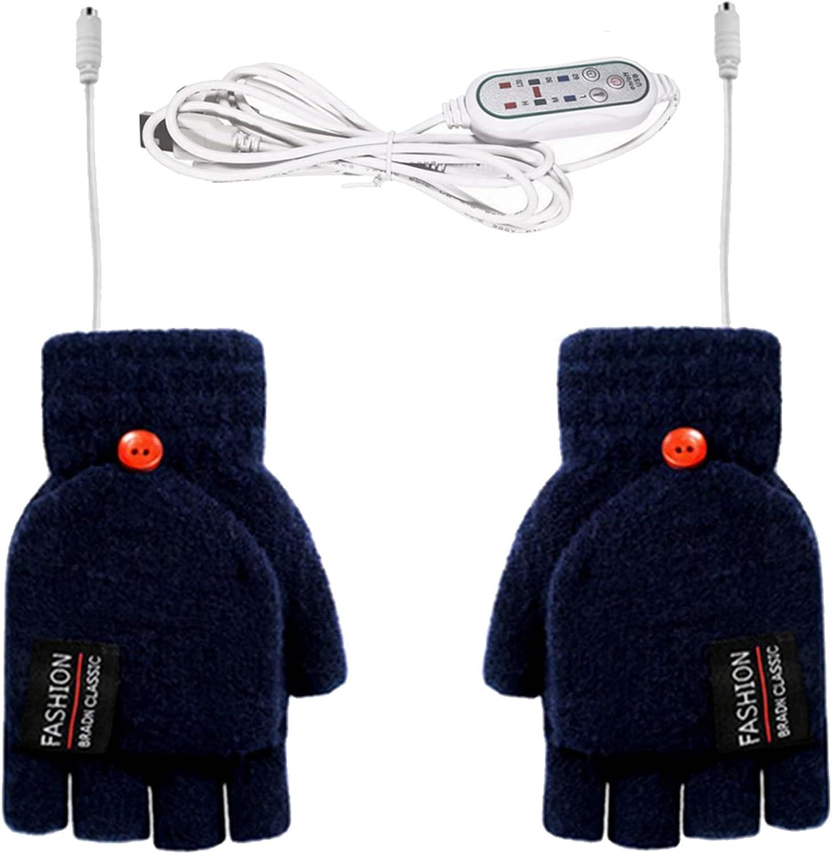 USB Heated Gloves 3 Heating Levels Womens & Mens Winter Full & Half Gloves