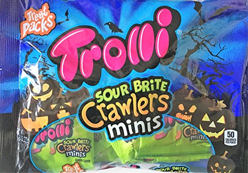 Trolli Sour Brite Crawlers Minis Halloween Treat Packs 9.6 Ounce Bag Contains 16 Individually Wrapped Packs of Candy