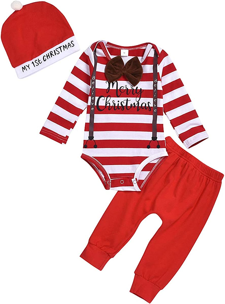 Infant Baby Girl Boy Christmas Clothes Merry Christmas Romper Bodysuit Car Pants Xmas Clothing Set