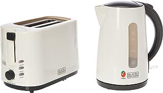 Black+Decker 2 Slice Toaster + 1.7L Electric Kettle Breakfast Set, White - MBF70-B5, 2 Year Warranty