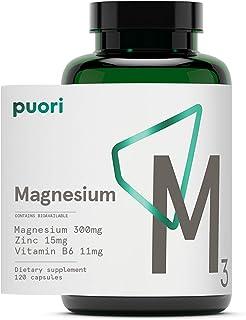 Puori Organic Magnesium Zinc Supplement - 300mg x 120 Vegan Capsules - M3 for Sleep & Immune Support, Muscle Recovery, Leg...