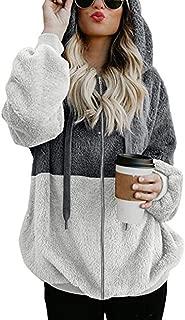 LEXUPA Women Plus Size Hooded Sweatshirt Loose Casual Coat Winter Warm Zipper Pockets Coat Outwear Pullover