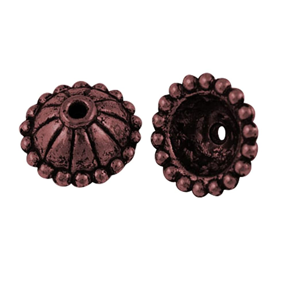 Nbeads Tibetan Style Bead Caps, Lead Free & Nickel Free, Hat, Red Copper, 10.5mm in Diameter, 5mm Thick, Hole: 1mm