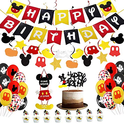 Mouse Party Supplies Kits, Mouse Birthday Banner Flags, Mouse Balloons, Hanging Swirls ,Garland, Welcome Hanger Door Sign, cup cake wrappers,Cake and Cupcake Topper for Baby Kids Shower Mouse Favors Theme Decoration, 112PCS IN ALL