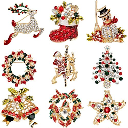 Elegant Rose Natale Spilla Pin 9 colorati Strass cristallo Xmas regalo per Natale, Ornaments regali