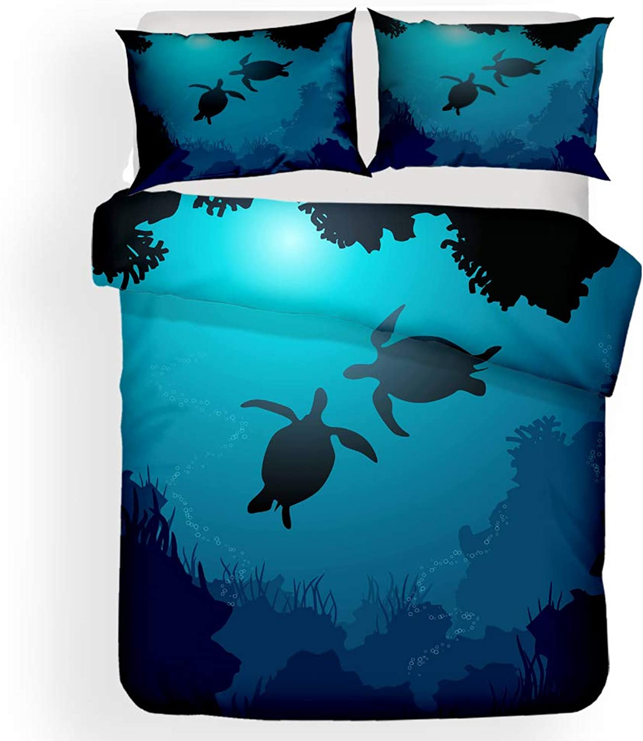 XINGYE 3D Sea Turtle Bedding Turtle Duvet Cover Set Bedspreads for Teens (no Comforter Include) (1, Twin)