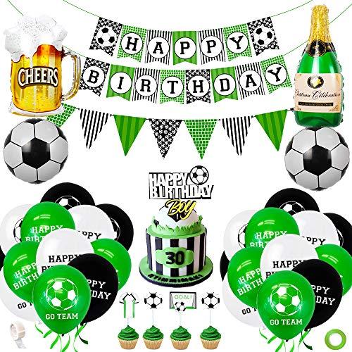 Decoración de cumpleaños de fútbol, suministros para fiestas, globos de látex con tema de fútbol con pancarta de feliz cumpleaños, decoración para tarta para niños, niños, fanáticos del fútbol