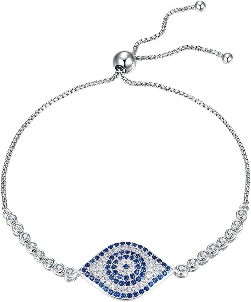 Kaletine Blue Evil Eye Tennis Selling 925 Sterling Cubic Bracelet Limited price sale Silver