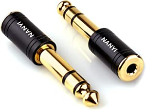 NANYI 1/4'' Male to 1/8'' Female Stereo Adapter Cables Connector, Upgrade 6.35mm Jack Stereo Plug Male to 3.5mm Jack Stereo Socket Femle for Headphone Adapter, Amp Adapte, Black 2-Pack