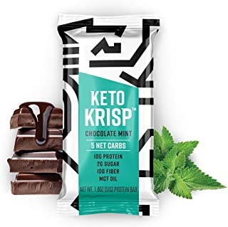 Keto Krisp, High Protein Snack Bar, Keto Friendly, Gluten Free, Low in Carbs and Sugar, Chocolate Mint (Pack of 12)