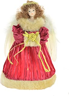 JJ's 9'' Fabric Red 10-Light Angel Treetopper