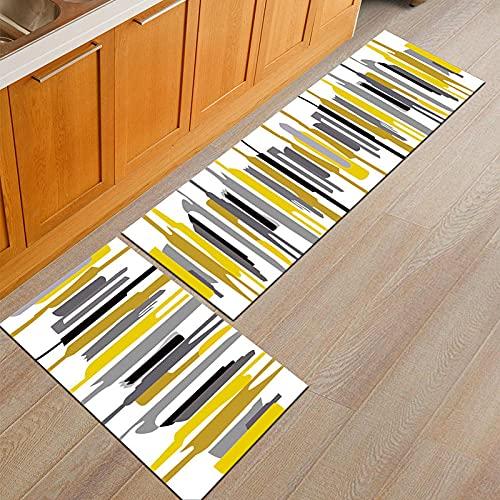 HLXX Alfombras de cocina lavables, antideslizantes, largas para puerta de baño, dormitorio, sala de estar, zona de noche, alfombra A5 40 x 60 cm+40 x 120 cm