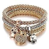 Bracelet Chouette - Trois Bracelets avec Trois Charm hiboux et Chouette - Bracelets Porte Bonheur