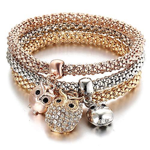 Bracelet Chouette Armband Eule – DREI Armbänder mit DREI Eulen und Eule – Glücksbringer