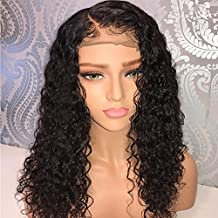 LIAZAHAIR Short Deep Curly Human Hair Lace Front Wigs with Baby Hair Pre Plucked Natural Hairline Brazilian Hair Bob Wig for Ladies (12 Inch, Lace Front Wig)