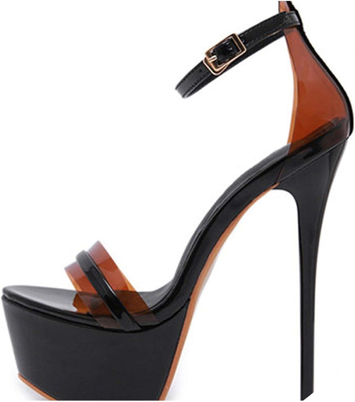 RAINIE002 PVC Transparentwomen High Heelsummer Gladiator Sandals Party Wedding Pumps Ladies Buckles Sexy Peep Toe Pumps