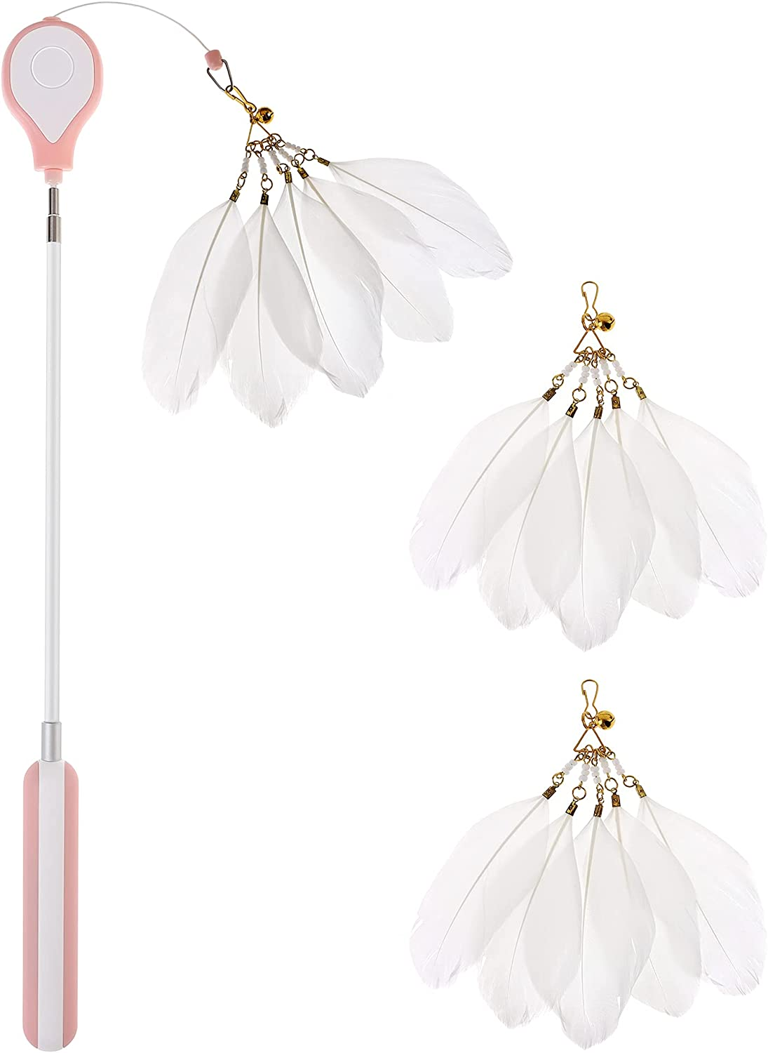 Cat Feather Teaser Wand Toys Include Dallas Mall Retractable New sales 3 PCS