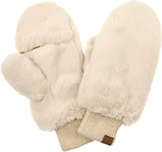 Faux Fur Flip Mittens Womens Warm Convertible Fingerless Gloves