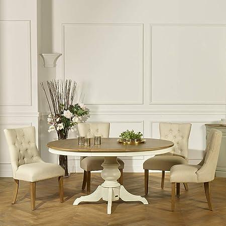 Robin des bois - Table Ronde Extensible, 6 à 8 Couverts, Blanche, Ariane