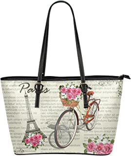 InterestPrint Womens Retro Vintage Red Bicycle Rivet Shoulder Handbag Shoulder Bags