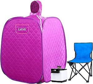 Lafati Portable Personal Steam Sauna for Home, Indoor Foldable Sauna Spa Tent, Lightweight Home Sauna Box with Upgrade 15 Gear 1000 Watt Steam Generator and Folding Chair (Purple)