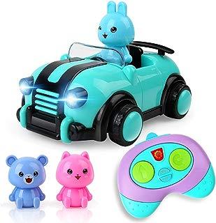 Cartoon Remote Control Car Toys for 3 4 5 Year Old Boys Girls, 2CH R/C Race Car with Music