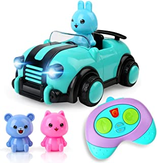 Cartoon Remote Control Car Toys for 3 4 5 Year Old Kids Boys Girls, 2CH R/C Race Car with Music