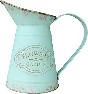 VANCORE Shabby Chic Metal Jug Vase Pitcher Flower Holder for Home Decoration