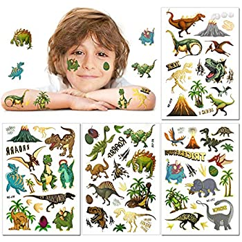 HOWAF Dinosaur Temporary Tattoos for Kids 56 styles Fake Children s Glitter Tattoos Colourful Temporary Dinosaur Tattoo for Boys Kids Dinosaur Birthday Party Supplies Favors,T-rex Decorations