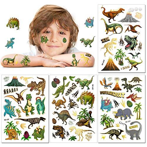 Konsait Brillare Dinosauro Tatuaggi temporanei per bambini, 56pcs Tatuaggi Finti Temporanei Adesivi Dinosauri,Regali per bambini Dinosauro Festa di Compleanno per Ragazze Ragazzi