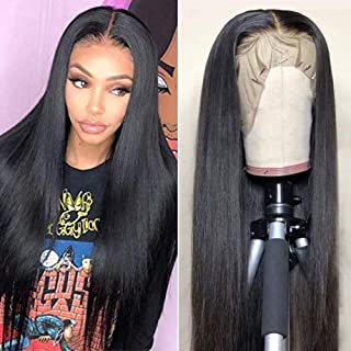 CHEETAHBEAUTY Brazilian Straight Lace Front Wigs Human Hair 13x4 Lace Front Wig For Black Women Pre Plucked with Baby Hair Natural Black 150% Density (20inch)