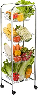 Kitchen Storage Trolley, Multi-purpose 4-Tier Metal Fruit Vegetable Floor-mounted Racks, Serving Rolling Cart with Wheels,...