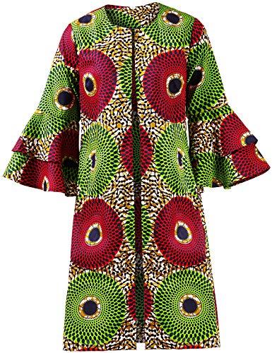 Shenbolen Women African Print Jacket Dashiki Traditional Top Dress(B,XXXX-Large)