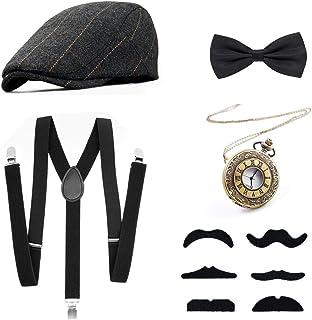 1920s Gatsby Costume for Men Fancy Dress Accessories Set - Panama Hat, Elastic Y-Back Suspender, Bow Tie, Fake Moustache a...