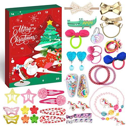 Humairc Haarschmuck Adventskalender Schmuck 2020 für Mädchen Kinder Weihnachtskalender 24 Haaraccessoires Ohrclips Ringen Tochter Weihnachten Geschenk
