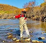 Vadeadores de Pesca Ligero Impermeable Pantalones Ropa para Niños y Jóvenes con Botas Transpirable Cómodo Bib Pantalones Pesca Equipo Esencial,S