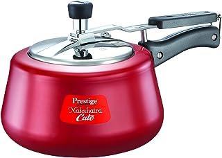 Prestige Nakshatra Aluminium Pressure Cooker, 2 litres, Red