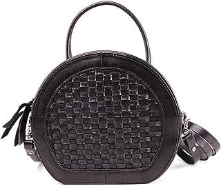 Black/Red/Brown Leather Handbag Fashion Ladies Shoulder Bag Vegetable Tanned Leather Retro Handmade Handbag Messenger Bag 20 * 8 * 18 (cm). jszzz (Color : Black)