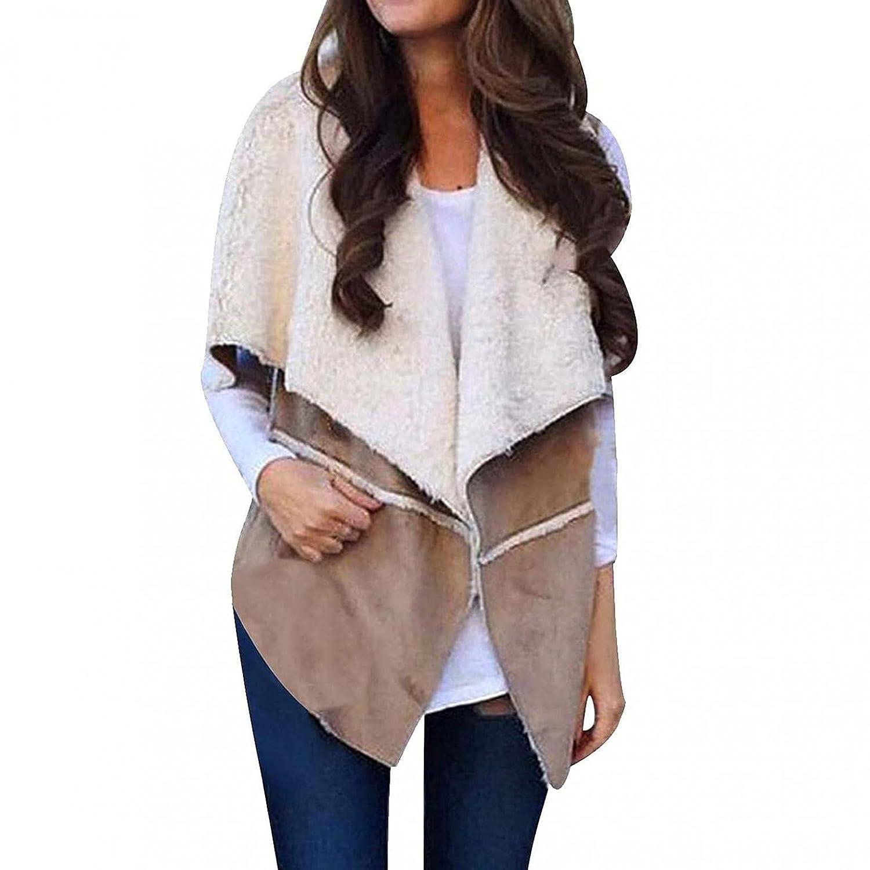 Padaleks Womens Jackets Plush Sleeveless Solid Fuzzy Fleece Open Front Lapel Cardigans Coats Outwear Loose Tops